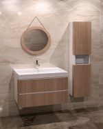 Дървен шкаф за баня с ПВЦ корпус - светъл цвят
