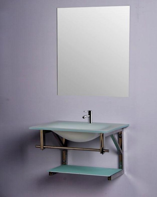 Комплект за баня - стъклена мивка + огледало
