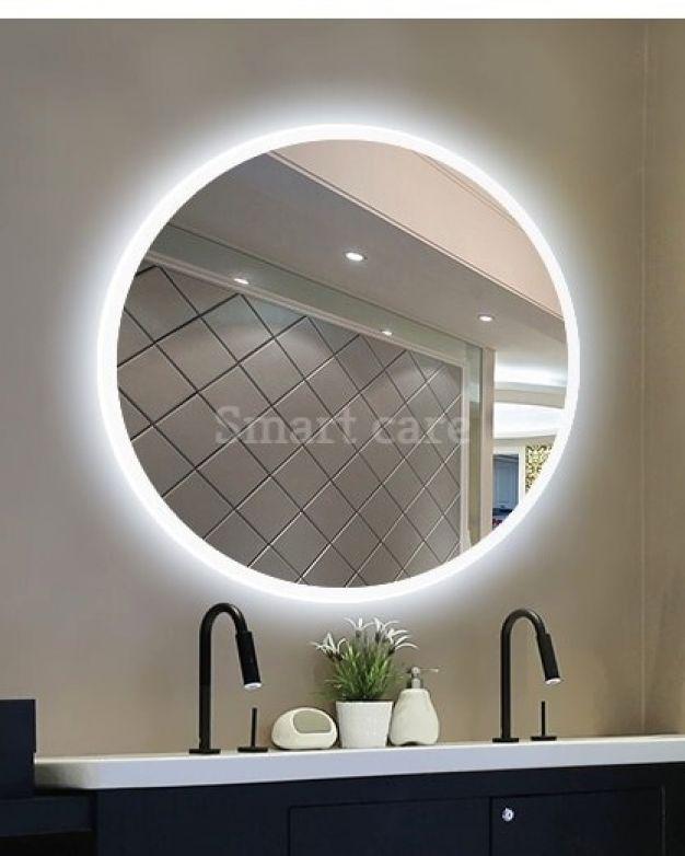 кръгло огледало за баня с осветление