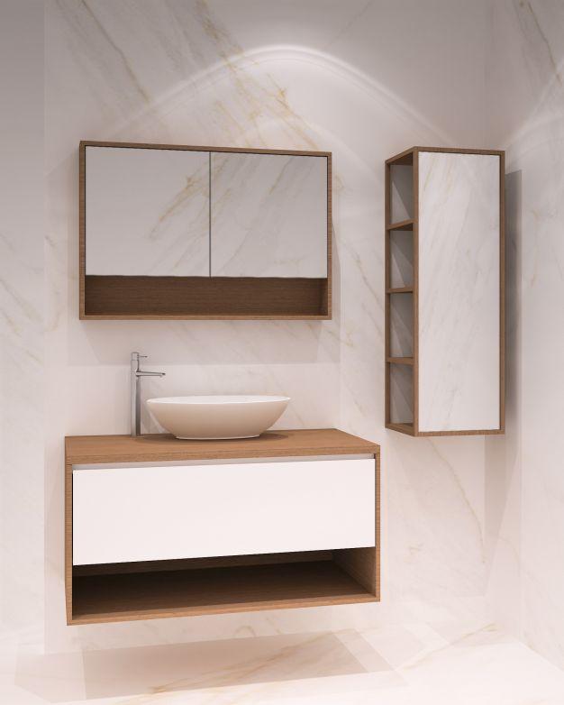 Дървени шкаф, колона и огледало - вариант 1