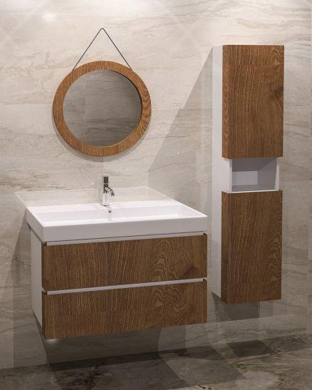 Дървен шкаф за баня с огледало
