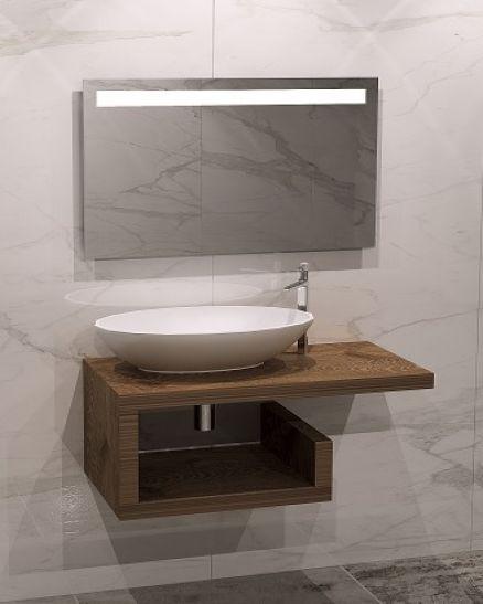 дървен плот с мивка и ЛЕД огледало