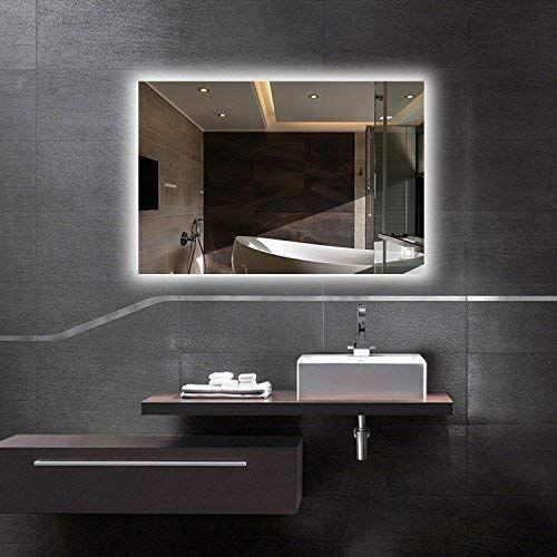 огледало с LED осветление в черна баня